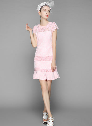 Pink Jacquard Lace Aline Mini Dress with Cap Sleeves RD606