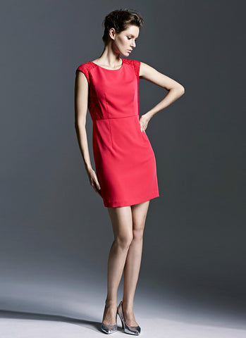 True Red Sheath Dress with Lace Details RD505
