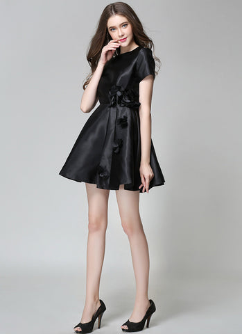 Black Mikado Mini Dress with Floral Embellished Waist MN11