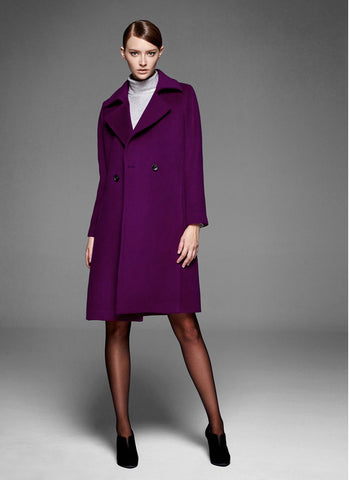 Belted Short Purple Cashmere Wool Coat RB106