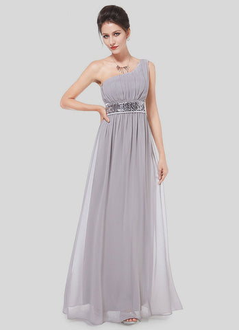 One Shoulder Gray Maxi Dress with Sequin Waist Yoke RM516