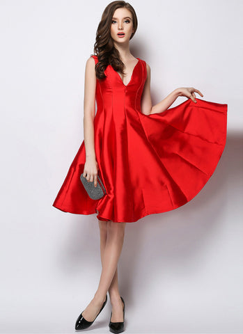 V Neck V Back Red Fit and Flare Mini Dress MN13