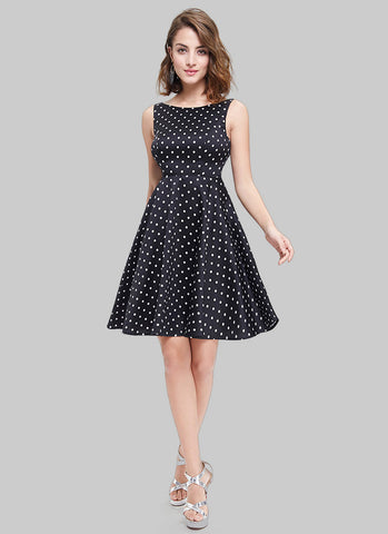 Sleeveless Black Polka Dot Aline Mini Dress with Deep V Back MN105