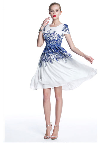 White Chiffon Mini Fit and Flare Dress with Blue Floral Print from Bust to Hips RM709