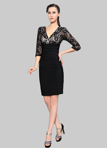 V Neck V Back Black Lace Sheath Mini Dress RD410