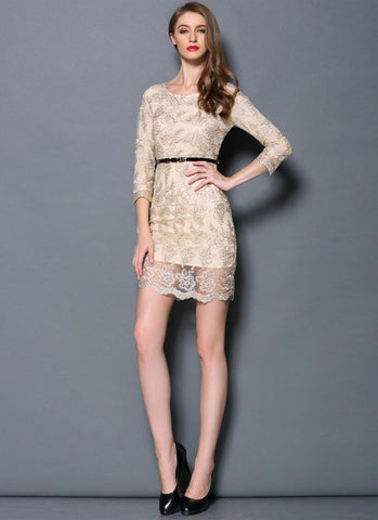 Alloy Embroidered Lace Sheath Dress with Scalloped Hem RD391