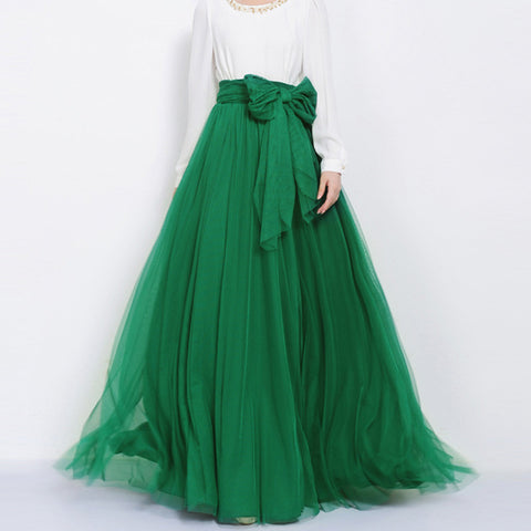 Emerald Green Tulle Maxi Skirt with Bow Sash and Extra Wide Hem - Long Green Tulle Skirt Floor Length - SK3g