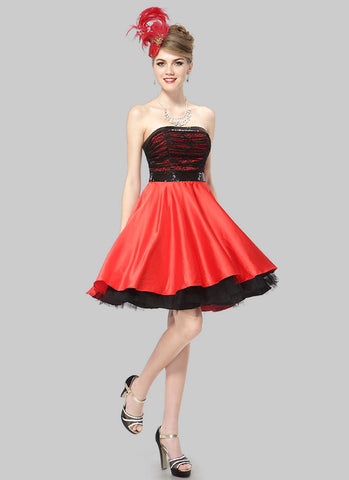 Black and Red Mini Dress with Ruched Top and Layered Skirt RD422