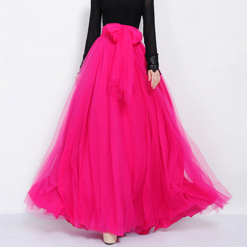 Deep Pink Tulle Maxi Skirt with Bow Sash and Extra Wide Hem - Long Fuchsia Tulle Skirt Floor Length - SK3f