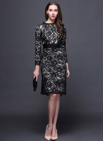 Long Sleeve Black Lace Sheath Dress with Eyelash Details and Gray Lining RD366