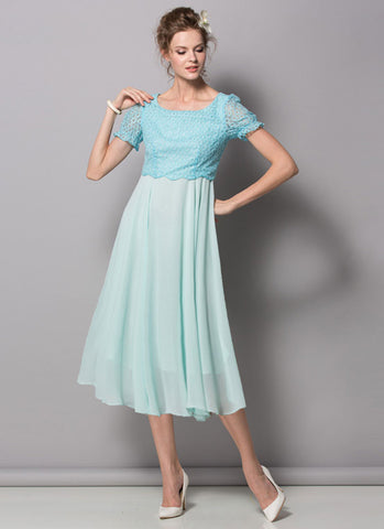 Aqua Lace Chiffon Midi Dress with Puff Sleeves RM439