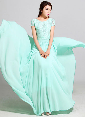 Aquamarine Lace Chiffon Maxi Dress with Cap Sleeves RM320