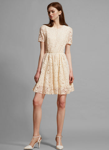 Short Sleeve Beige Lace Aline Mini Dress MN96