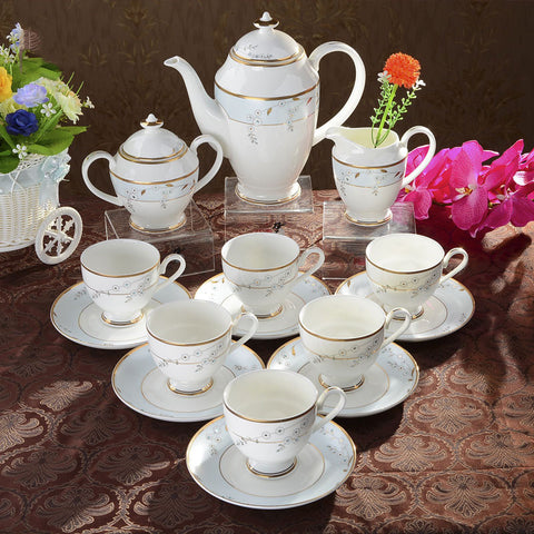 Fine Bone China Tea Set (15 Pieces) with Gold Gilded Rim and Rhinestone Embellishment