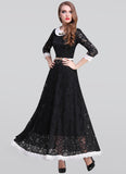 Black Lace Maxi Dress with White Peter Pan Collar