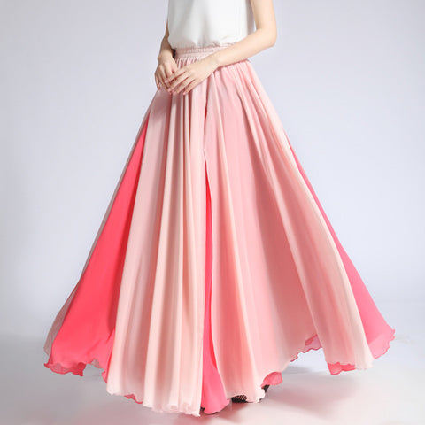 Coral Red and Light Pink Maxi Skirt - Contrast Colored Maxi Skirt - Long Layered Chiffon Skirt - SK6c