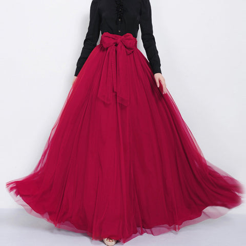 Dark Red Tulle Maxi Skirt with Bow Sash and Extra Wide Hem - Long Flowy Maroon Tulle Skirt Floor Length - SK3b