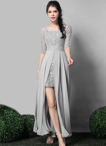 Gray Lace Chiffon Maxi Dress with Scoop Neck and Back RM563