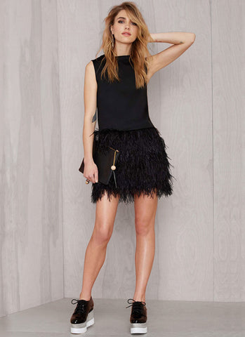 Deep V Back Black Mini Dress with Feather Skirt RD356