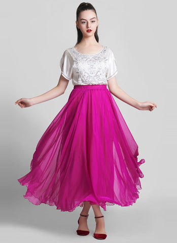 Deep Pink Chiffon Maxi Skirt with Extra Wide Hem - Long Deep Pink Chiffon Skirt - SK5a2