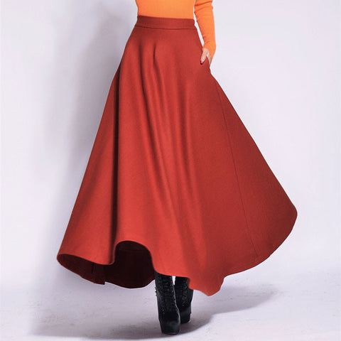 Dark Orange Wool Blend Maxi Skirt - Indian Red Skirt with Extra Wide Hem - WSK2F