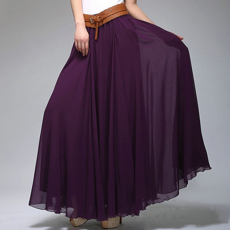 Indigo Chiffon Maxi Skirt with Extra Wide Hem - Long Purple Chiffon Skirt