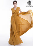Mustard Yellow Maxi Length Evening Dress with Crossover Bodice and Pleated Waist Yoke