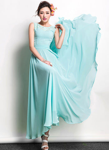Aqua Blue Lace Chiffon Maxi Dress with Pleated Waist Yoke RM646