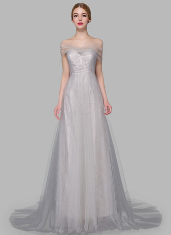 Light Gray (Grey) Lace Evening Gown with Sheer Tulle Overlay RM629