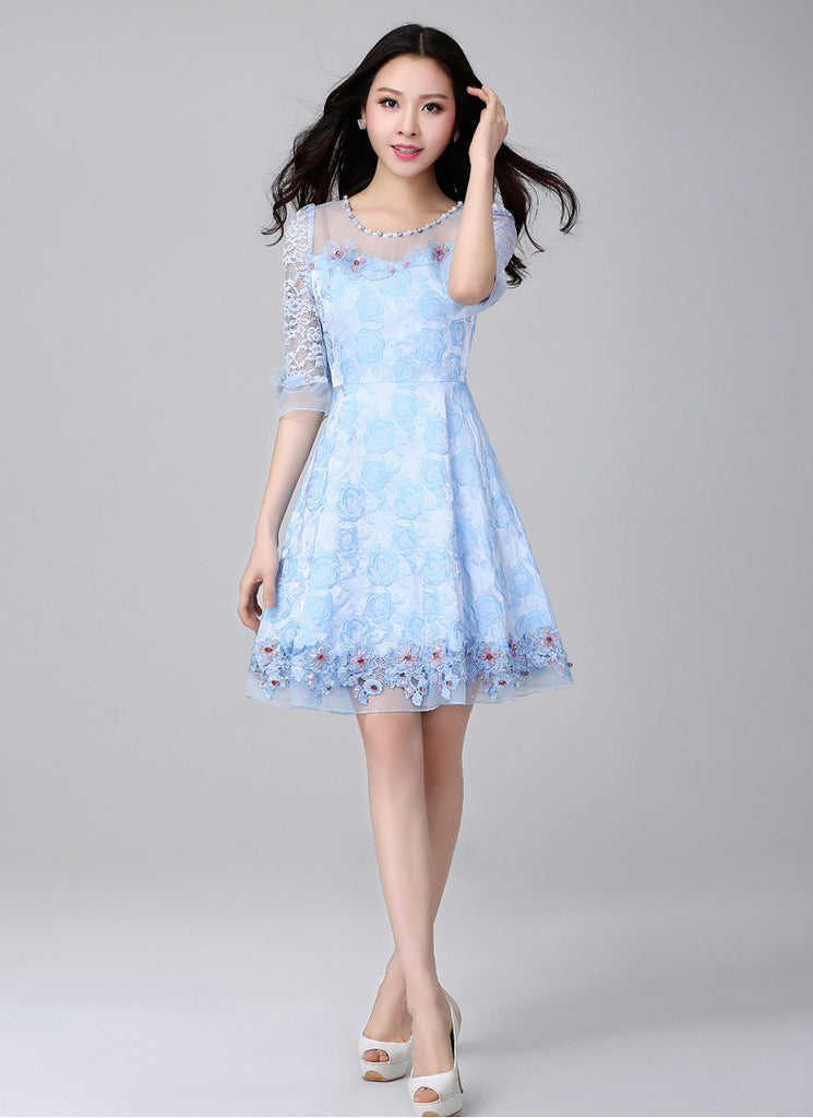 Light Blue Lace Fit and Flare Mini Dress with 3D Appliqué and Cabochon Embellishment