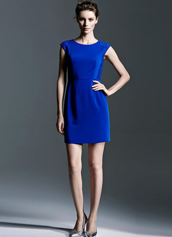 Royal Blue Sheath Dress with Lace Details RD505B