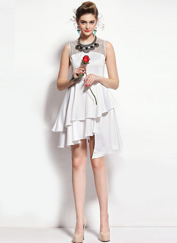 White Satin Asymmetric Mini Dress with Mesh Details RD585