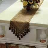 Retro Style Table Runner with Crochet Edge and Fringes TR7D