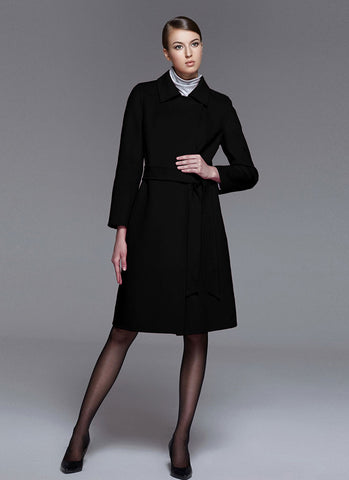 Belted Black Cashmere Wool Coat RB102