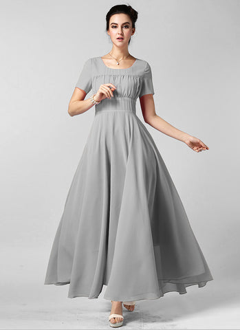 Light Gray Maxi Dress with Ruffled Top and Wide Waist Yoke RM608
