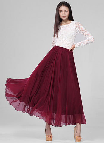 Dark Red Chiffon Maxi Skirt with Extra Wide Hem - Long Dark Red Chiffon Skirt - SK5a2