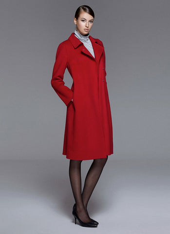 True Red Belted Cashmere Wool Coat RB102