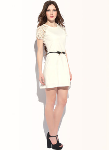 Off-White A Line Dress with Lace Sleeves & Eyelash Details R27