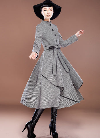 Houndstooth Wool Coat with Asymmetric Layered Hem RB3