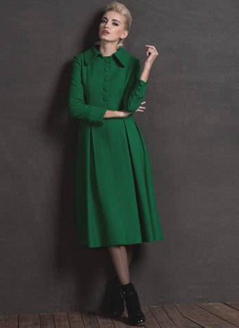 Long Green Fit and Flare Cashmere Wool Coat RB62