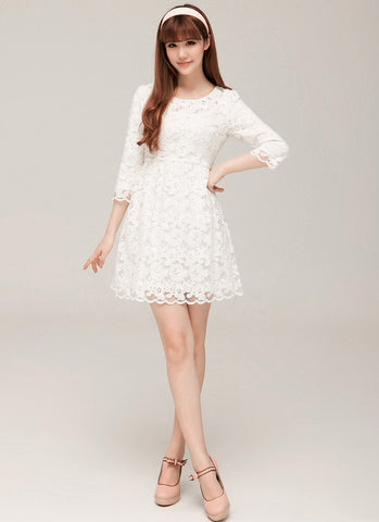 White Lace A Line Mini Dress with 3 Quarter Sleeves R57