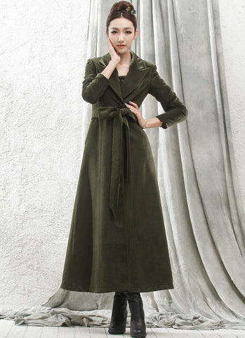 Long Dark Olive Green Cashmere Wool Coat RB56