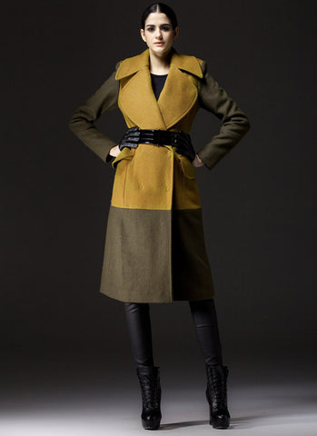 Dark Olive Cashmere Wool Coat with Yellow Torso RB32