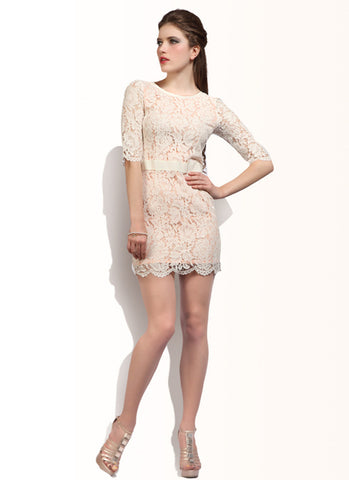 Off White Lace Sheath Dress with V Back & Half Sleeves RD15