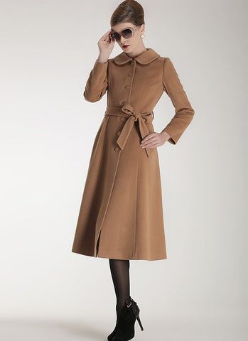 Single Breasted Peru Cashmere Wool Coat with Peter Pan Collar RB39