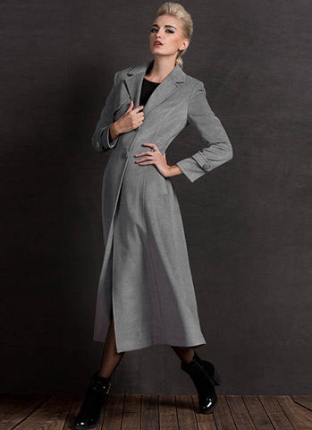 Long Light Gray Cashmere Wool Coat RB61