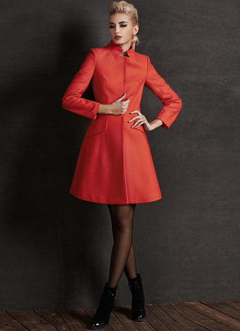 Short Orange ALine Cashmere Wool Coat RB77