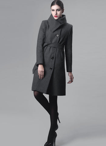 Dark Gray Cashmere Wool Coat with Asymmetric Stand Collar RB57
