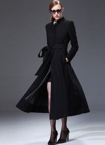 Black Cashmere Wool Coat with Stand Collar & Lace Details RB58