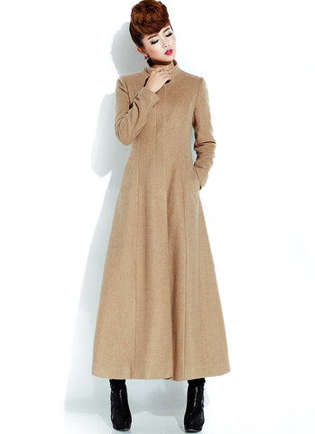 Long Burly Wood Cashmere Wool Coat with Stand Collar RB20